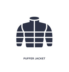 Puffer jacket icon on white background simple vector