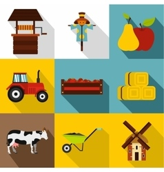 Ranch icons set flat style vector