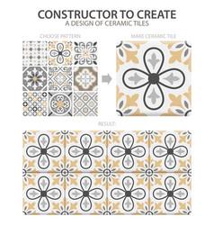 Realistic ceramic floor tiles vintage pattern vector
