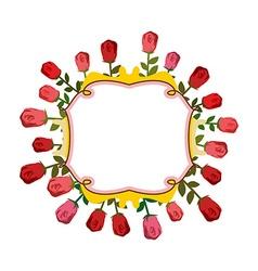 Retro frame of roses Vintage flowers vector
