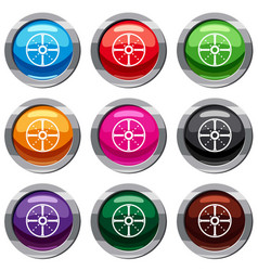 Round shield set 9 collection vector