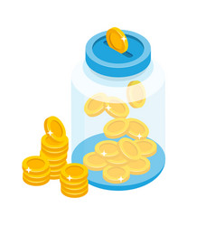 Saving coins in jar concept in vector