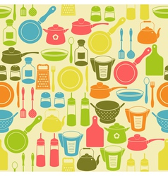 Seamless retro pattern with kitchen utensils vector image