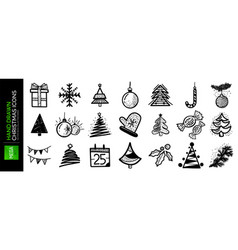 set hand drawn christmas and new year icons vector image