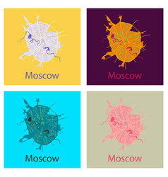 Set of flat color map of moscow all objects are vector