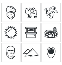 Set of Middle East Icons Arab Camel Palm vector