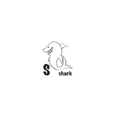 shark coloring page vector image