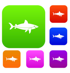 shark fish set color collection vector image