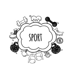 Sport bubbles white and black vector image