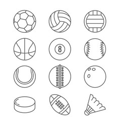 Sports balls thin line icons basketball vector