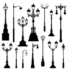 Street lamp set street lights city sign vector