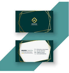 Stylish business card design with golden frame vector