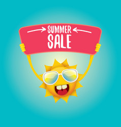 Summer happy sun holding sale offer sign vector