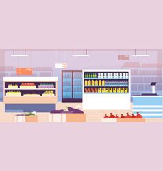 Supermarket interior empty shopping retail hall vector
