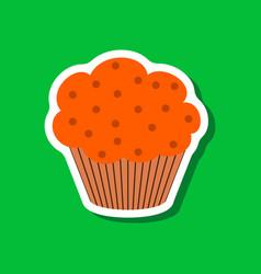 Sweet dessert in paper sticker muffin vector