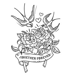 Tattoo swallows fly over two roses love forever vector