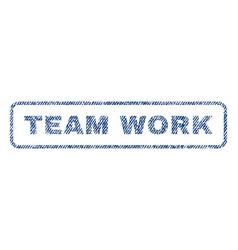 team work textile stamp vector image