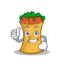 Thumbs up kebab wrap character cartoon vector
