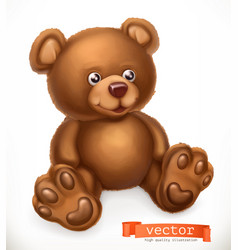 Toy bear 3d icon vector