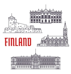 Travel landmarks of Finland and Denmark icon vector image