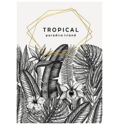 tropical wedding invitation or card design hand vector image