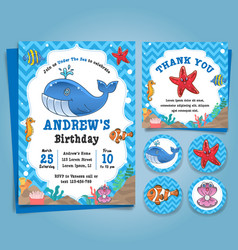 Underwater sea nautical theme birthday invitation vector