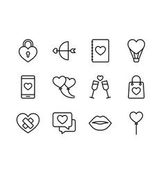 valentine icon set happy valentine day with vector image