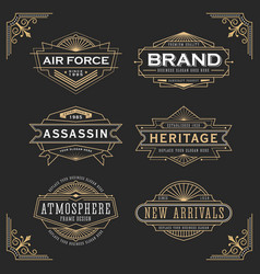 Vintage line frame design for label and banner vector