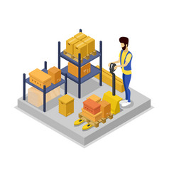Warehouse management isometric 3d icon vector