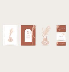 watercolor modern wedding invitation pampas grass vector image