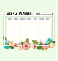 weekly schedule planner template with flowers vector image