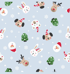 winter seamless pattern with santa and cute vector image
