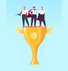 workers standing on golden award winner vector image