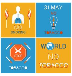 World no tobacco day set asking to atop smoking vector