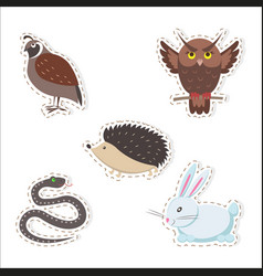 cute cartoon forest animals stickers collection vector image