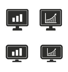 diagram screen icon set vector image vector image