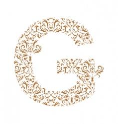 floral letter g ornament font vector image vector image