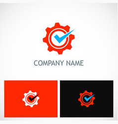 gear industry check mark logo vector image