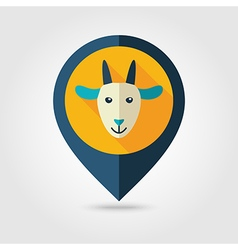 Goat flat pin map icon Animal head vector image vector image