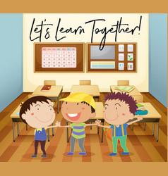 happy children learn in classroom vector image vector image