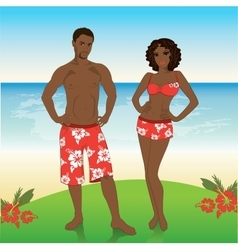 Man and woman in beach shorts on the beach vector image vector image