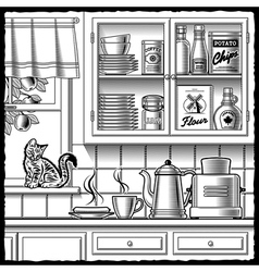 Retro kitchen black and white vector image vector image