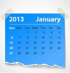 2013 calendar january colorful torn paper vector image