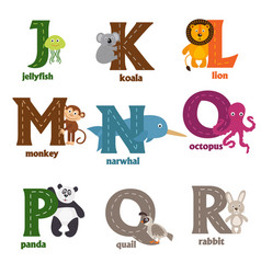 alphabet with animals j to r vector image
