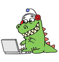 cartoon green dinosaur sitting at the silver vector image vector image