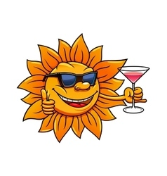 Cartoon sun in sunglasses drinking cocktail vector image