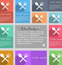 Fork and spoon crosswise cutlery eat icon sign set vector