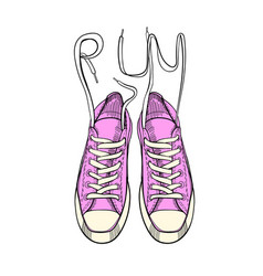 hand drawn graphic sport shoes sneakers trainers vector image
