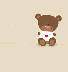 Love bear with love letter vector image vector image