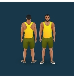 men in shorts and singlet vector image